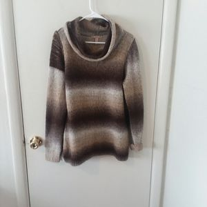 Chocolate & Gold Ombre Striped Cowl Neck Sweater